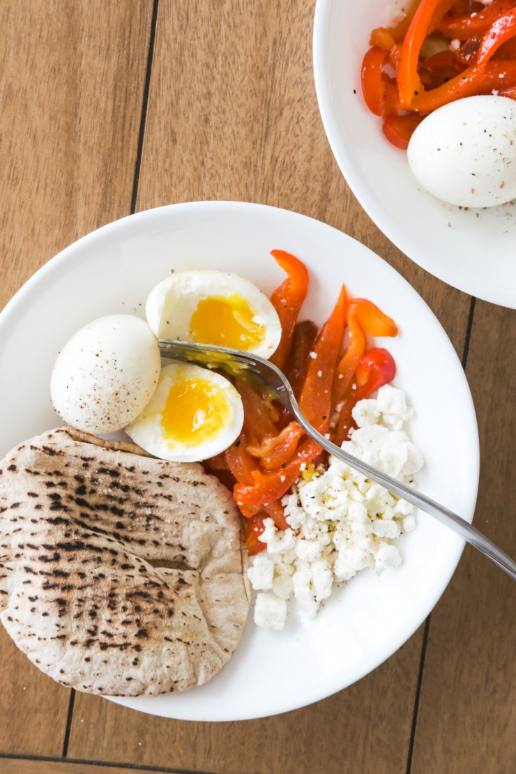 breakfast with roasted red peppers