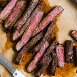 close up of london broil sliced up on a cutting board