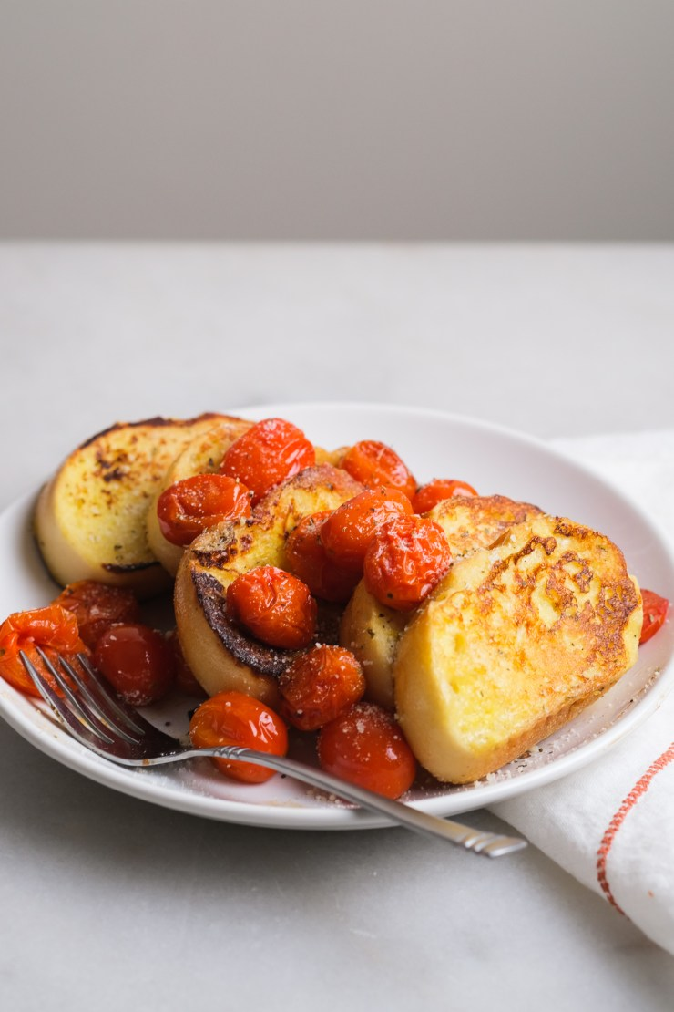savory french toast with cherry tomatoes on a plate
