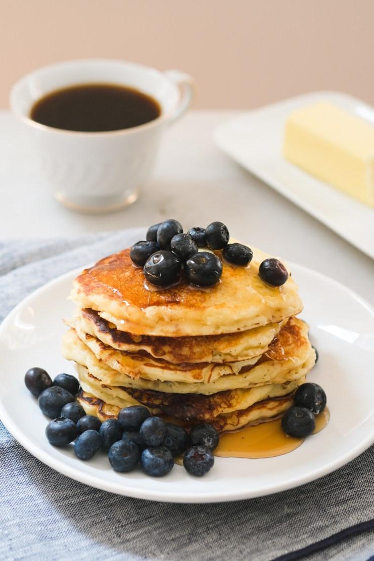 stack of lemon blueberry ricotta pancakes