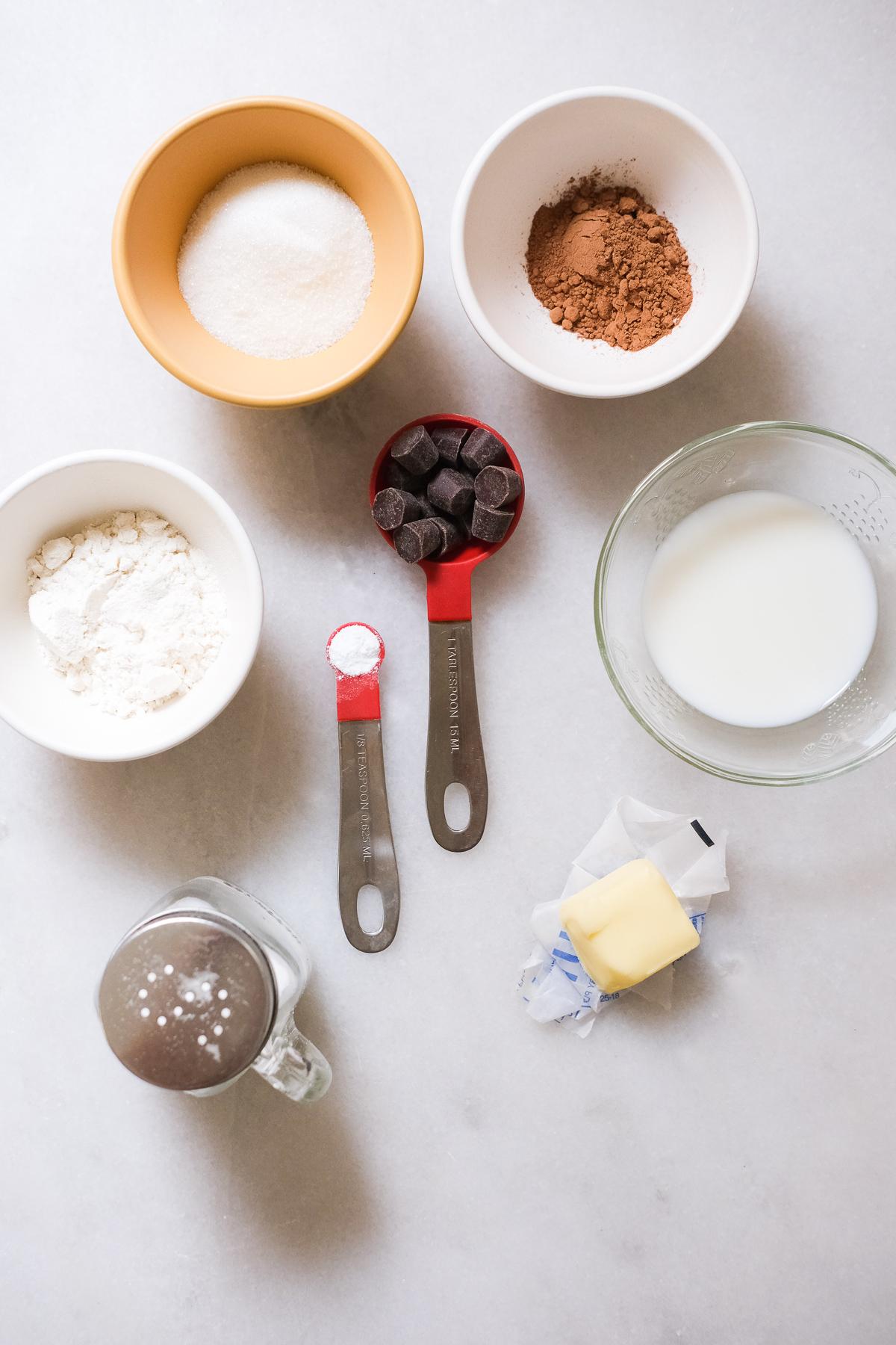 ingredients to make a chocolate mug cake