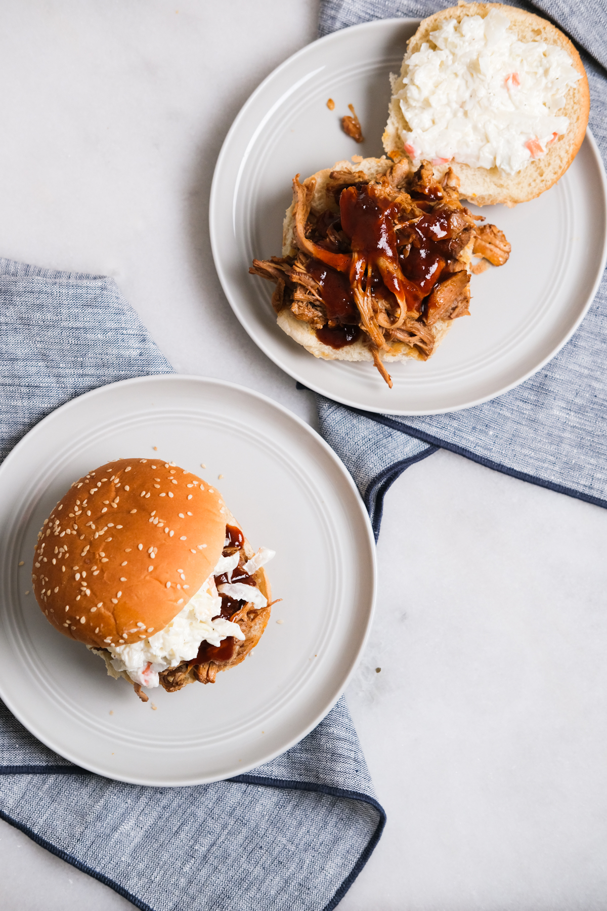 bbq pulled pork sandwiches with sauce
