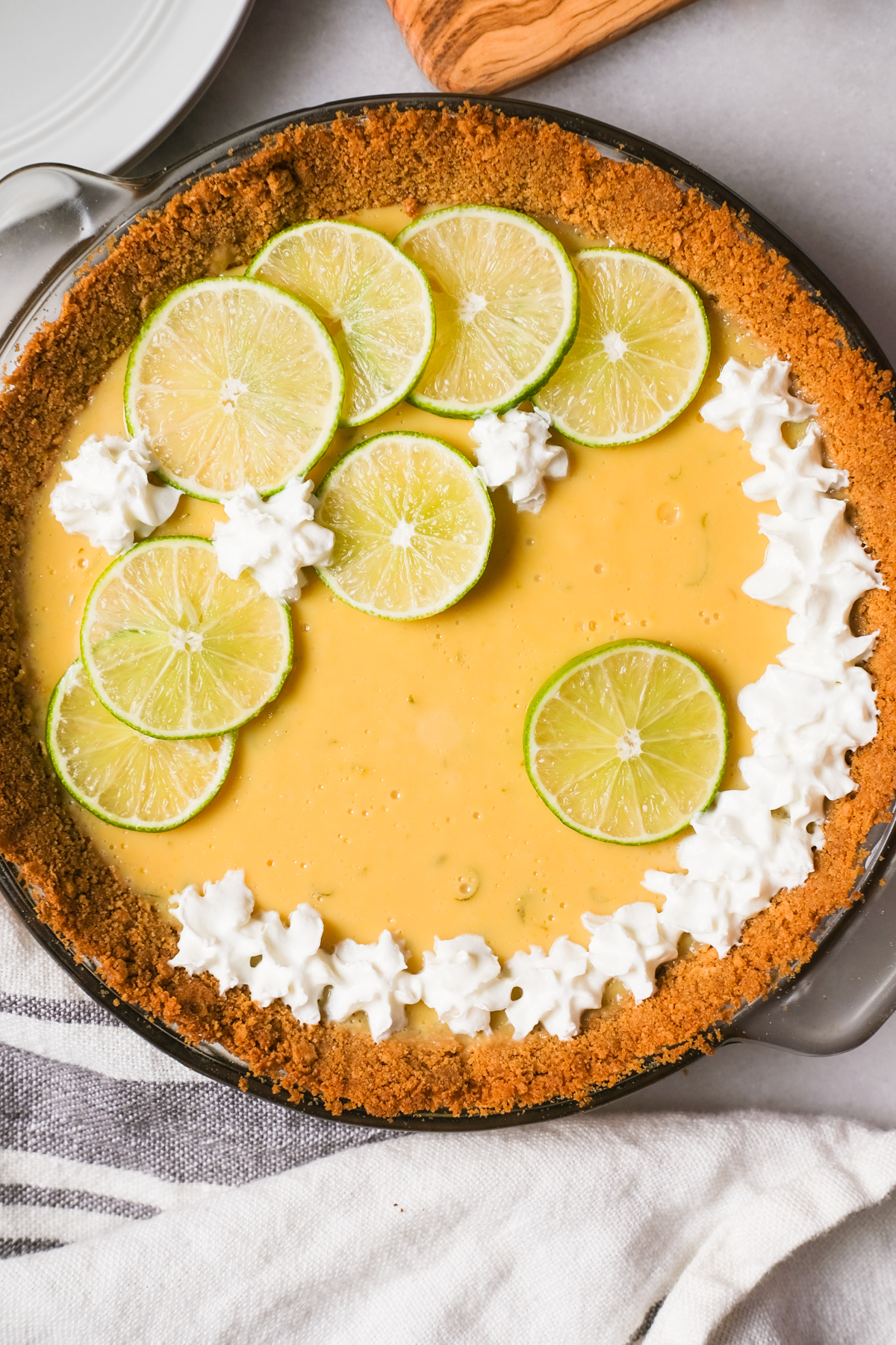 close up of a decorated key lime pie