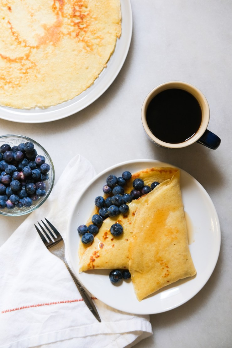 sourdough crepes with blueberries and coffee