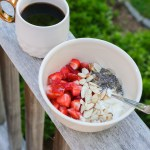 greek yogurt bowl with coffee on the porch