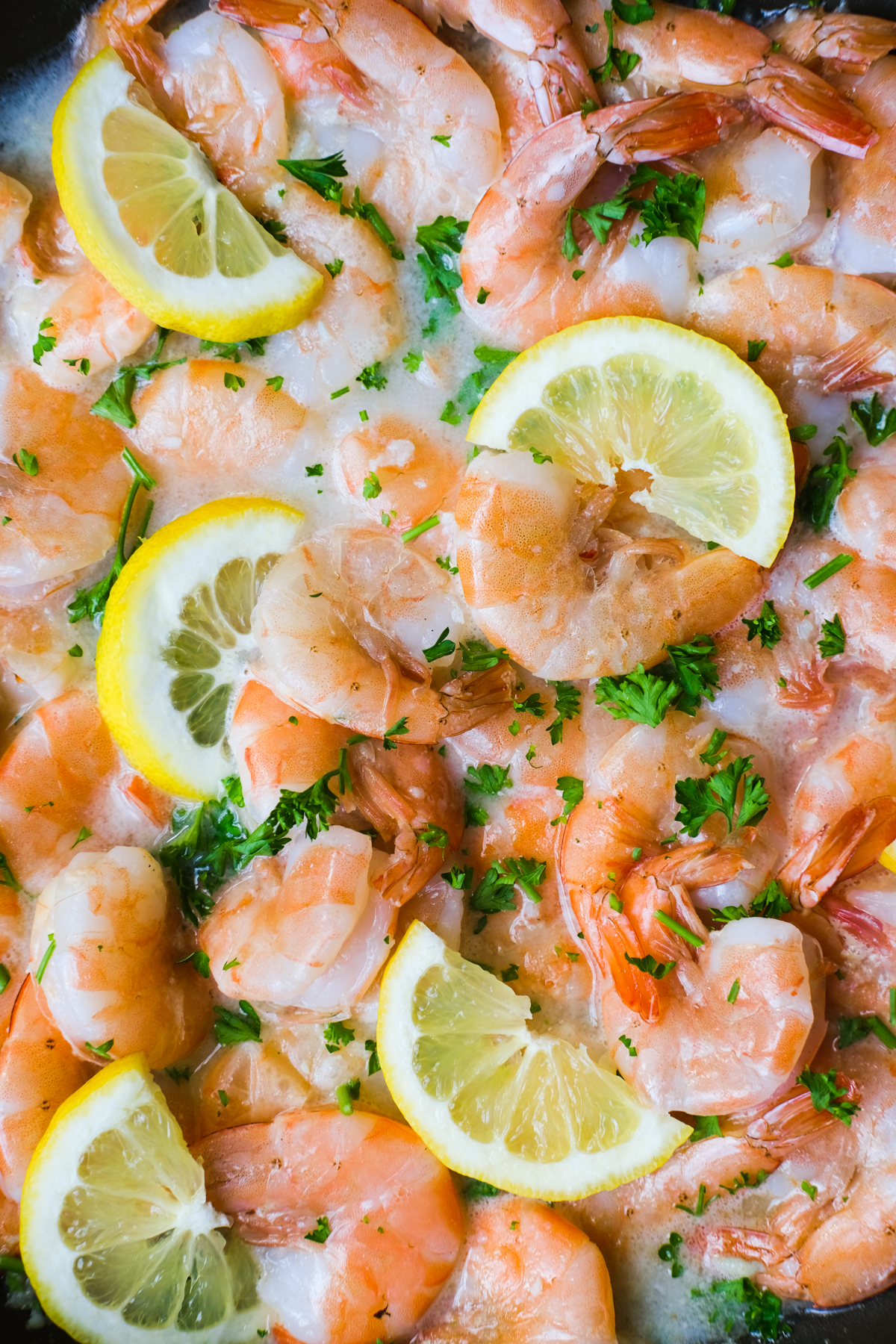 shrimp in a garlic lemon white wine sauce with parsley