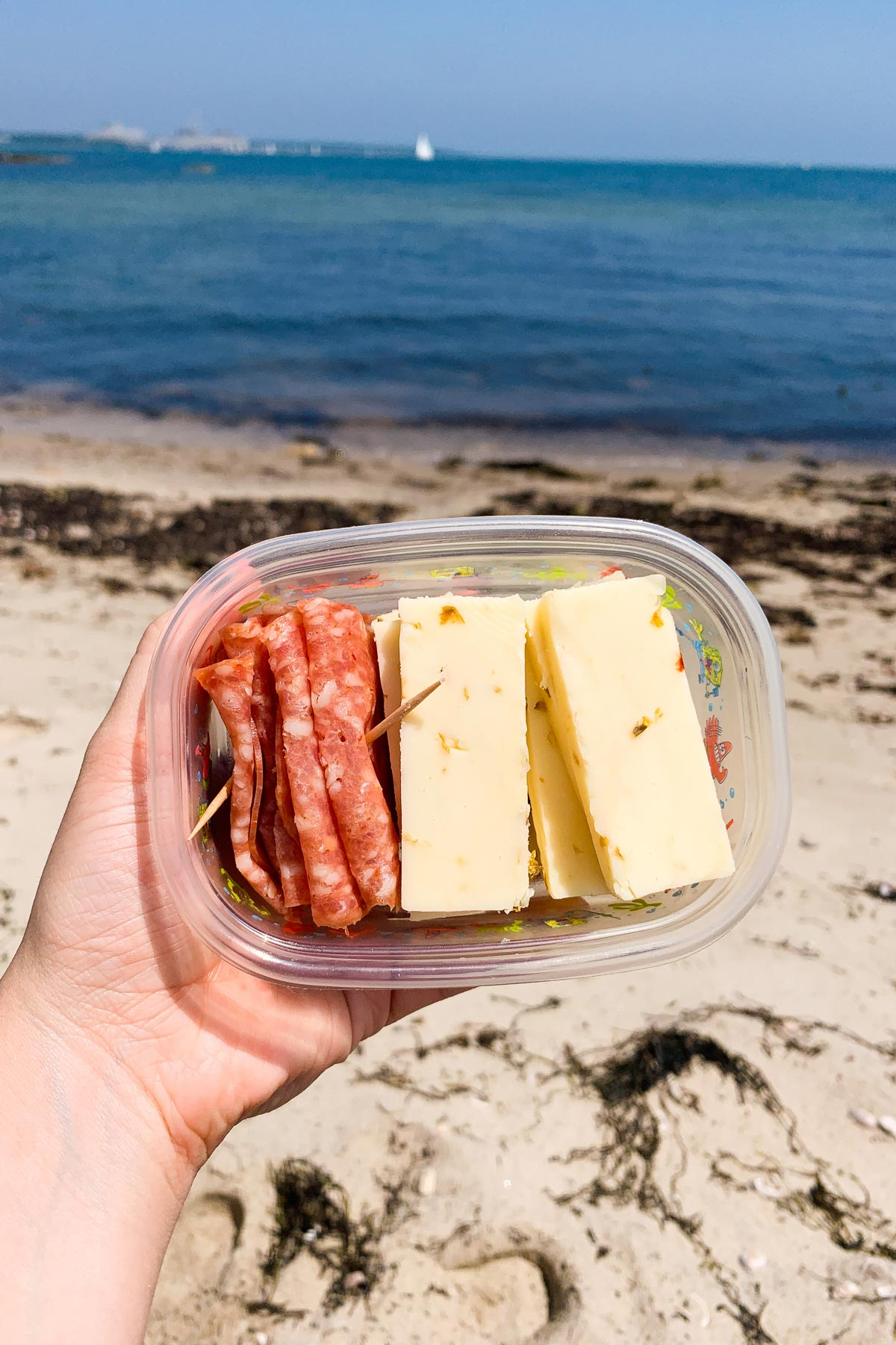 slices of salami and cheese in a container on the beach