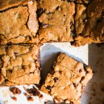 salted caramel chocolate blondies in a pan