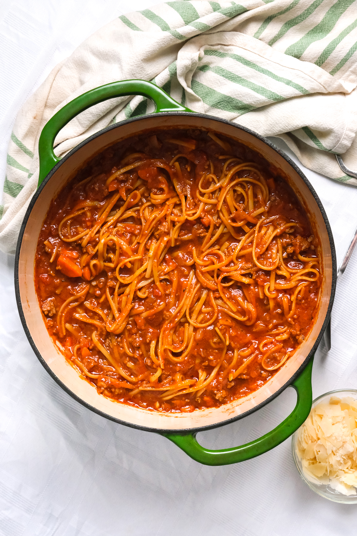 one pot bolognese in a dutch oven