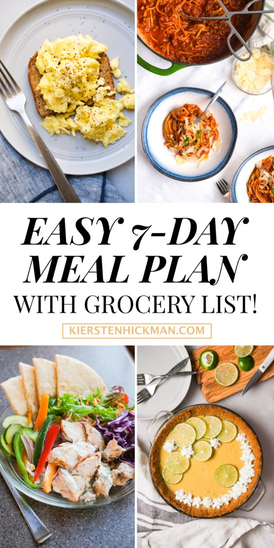 easy seven day meal plan with grocery list