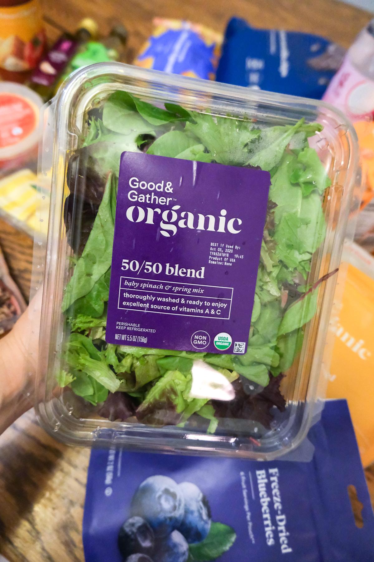 organic 50/50 blend salad greens Good & Gather from Target
