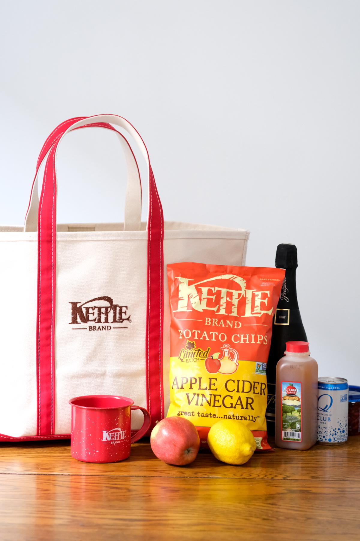 kettle brand apple cider vinegar chips with bag