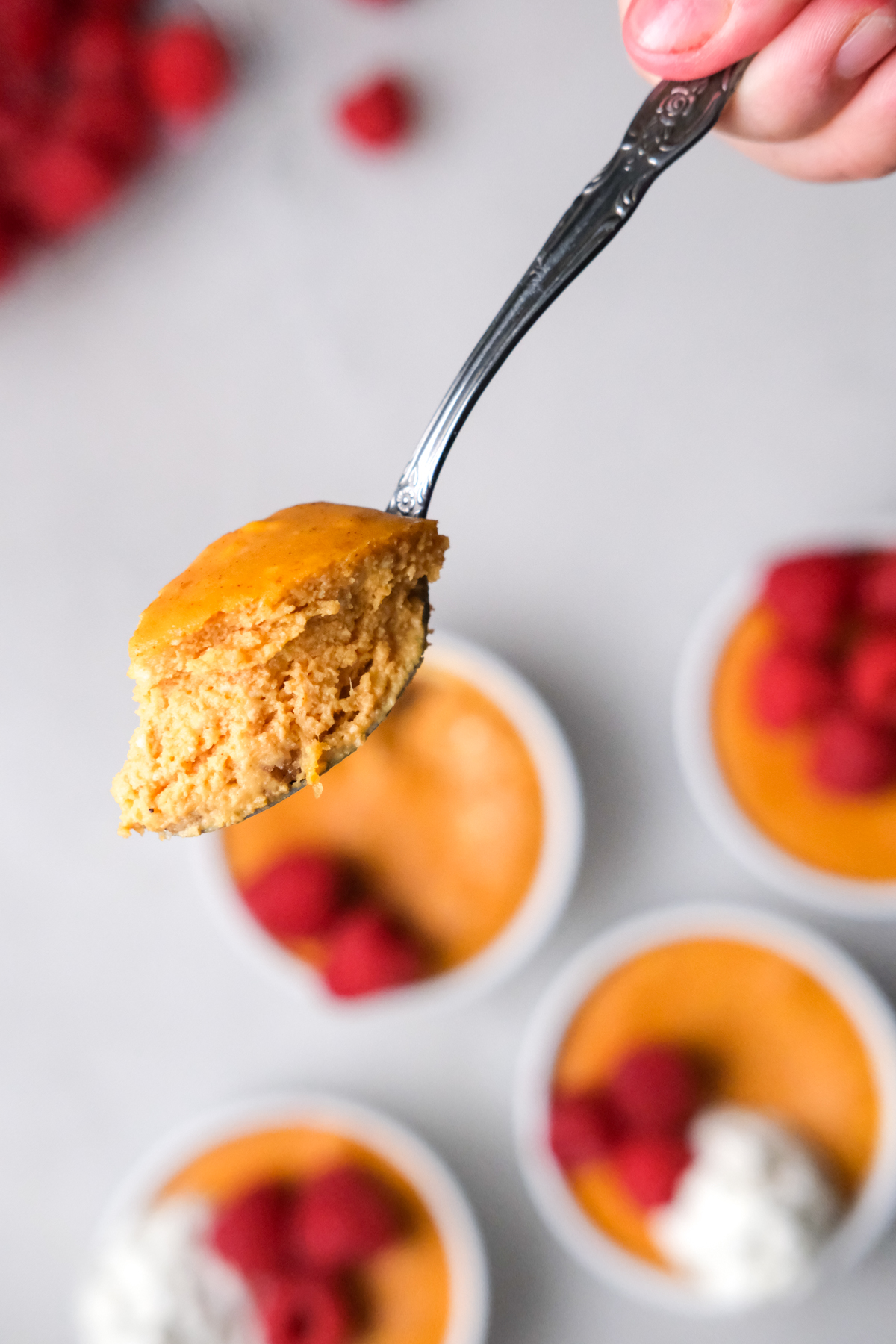 spoonful of pumpkin cheesecake