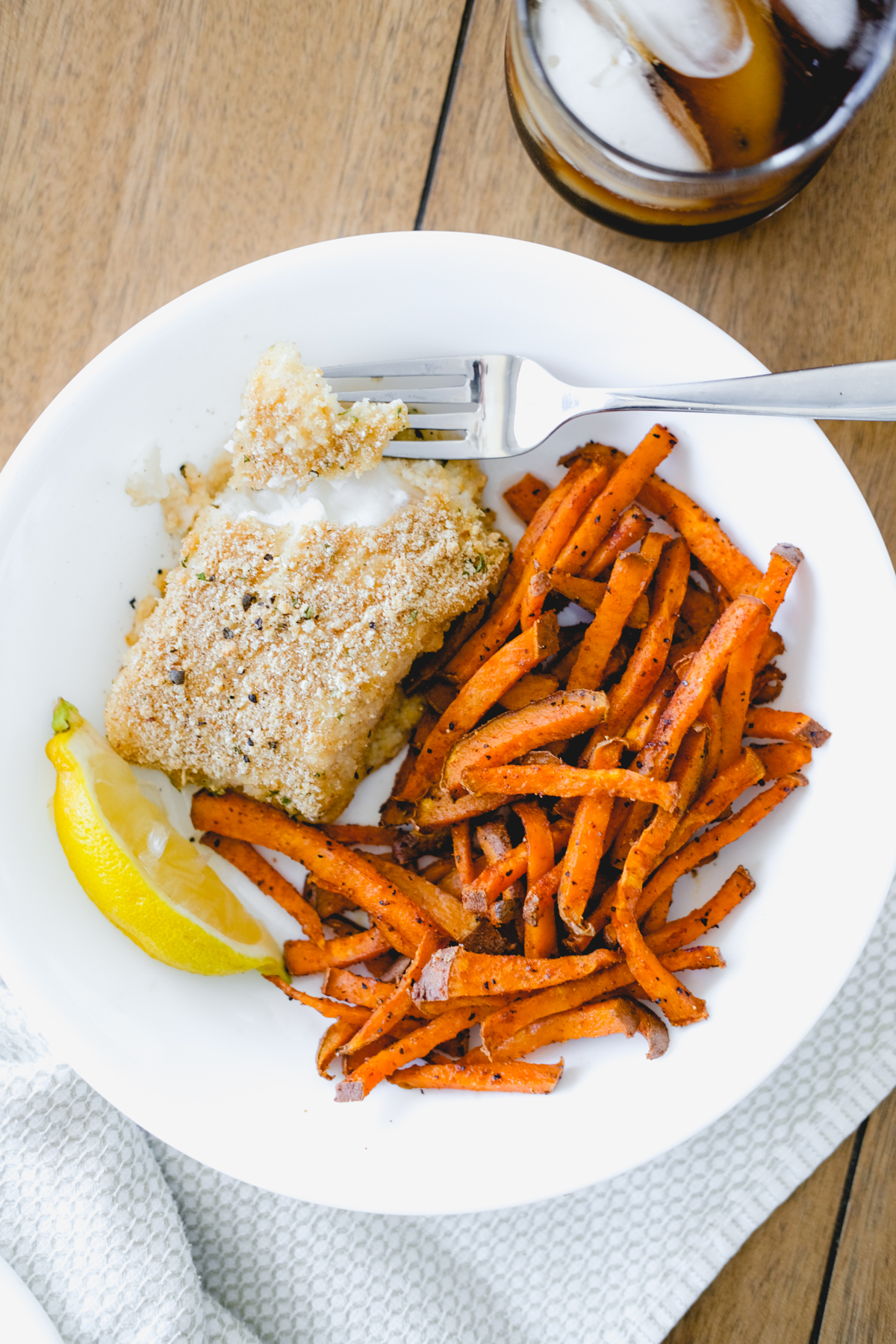 healthier baked fish and chips with lemon