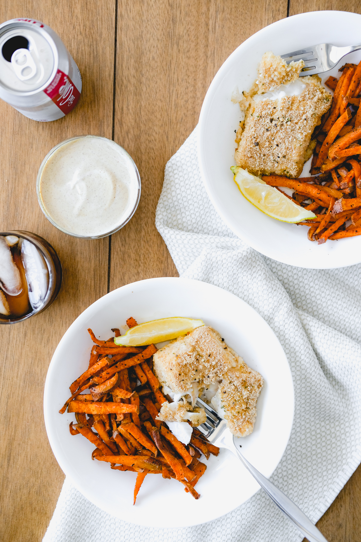 baked fish and chips with spicy brown mustard aioli