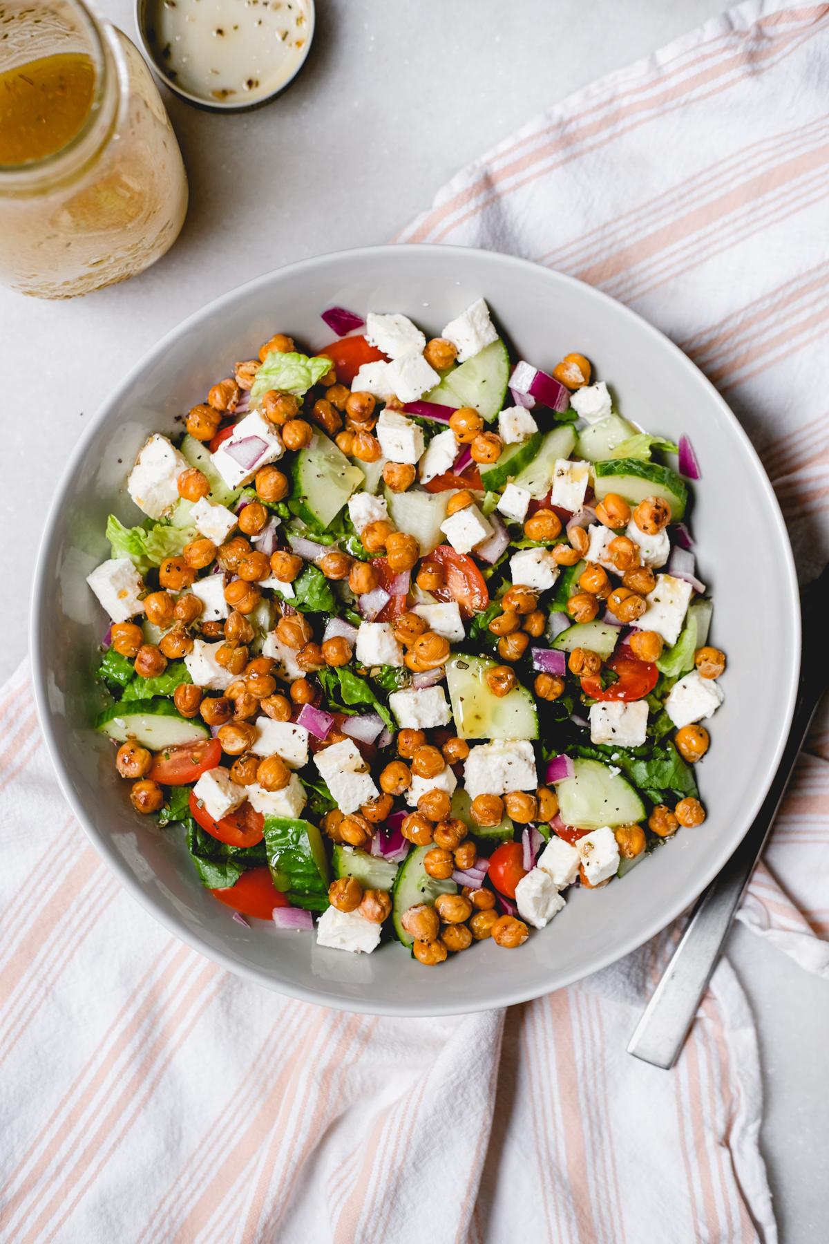 roasted chickpea greek salad with a greek vinaigrette