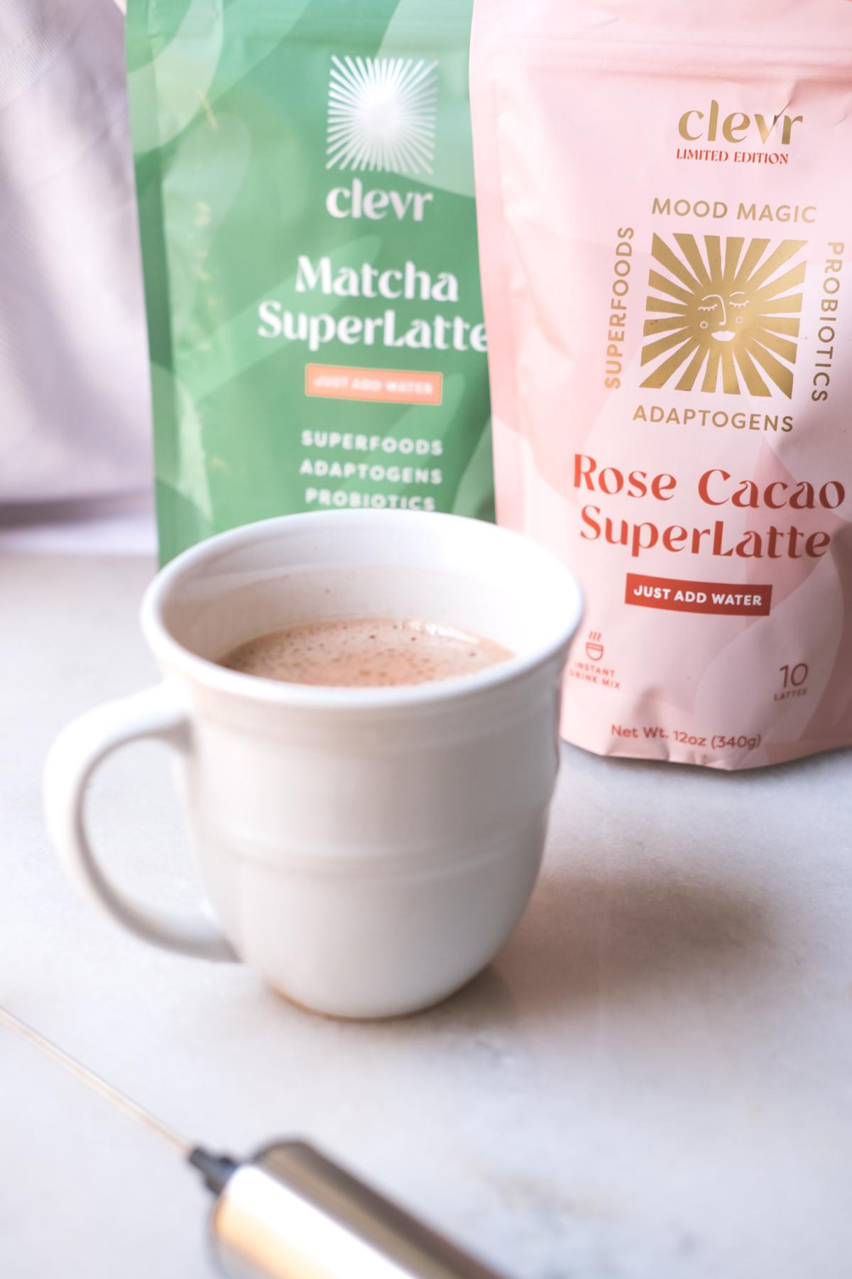 clevr blends rose cacao superlatte in a mug