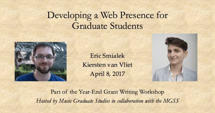 Workshop: Developing a Web Presence for Graduate Students