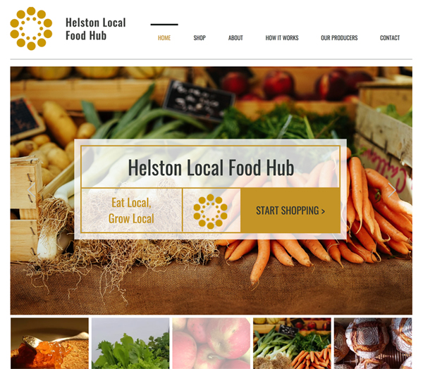 A screenshot of the Helston Local Food Hub website home page