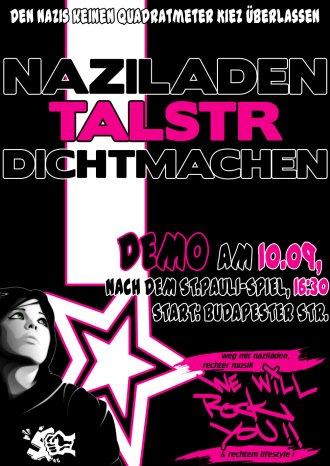Naziladen Elite Style in der Talstrasse dichtmachen! Den Nazis keinen Fußbreit Kiez überlassen! Demo am 10.09. ab 16:30 Uhr (nach dem Leverkusenspiel) auf der Buderpester Strasse