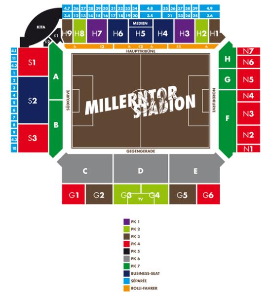 Blockeinteilung und Preisklassen Millerntor. Grafik: fcstpauli.com