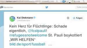 Kein Herz für Flüchtlinge: Schade eigentlich, @fcstpauli! #refugeesnotwelcome St. Pauli boykottiert WIR HELFEN