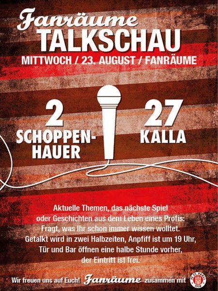 Einladungsflyer zur Fanräume - Talkschau mit Schoppenhauer und Kalla