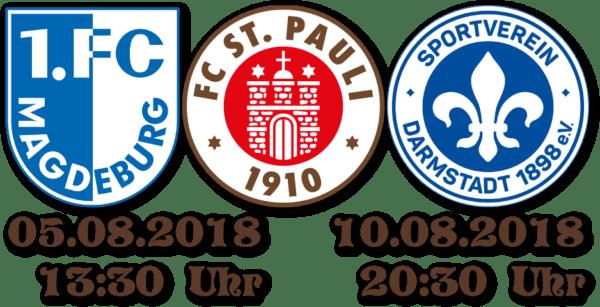 1. Spieltag: Magdeburg - FCSP am 05.08. um 13:30 Uhr. 2. Spieltag: FCSP - Darmstadt am 10.08. um 20:30 Uhr.