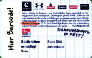 Saisonkarte FC St. Pauli 2019-20, Stehplatz Südkurve, ermäßigt