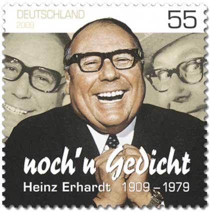 """Briefmarke zum 100. Geburtstag von Heinz Erhardt: """"Noch´n Gedicht"""". Stellvertretend für grauhaarige, alte, deutsche Männerklüngel"""
