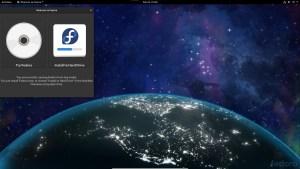 Ilustración 8: Fedora 33, pantalla de bienvenida para realizar la instalación o probar el Live CD.
