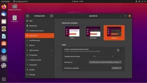 Ilustración 28: Ubuntu, dentro de la configuración de apariencia, permite seleccionar entre tres modos de color de ventana.