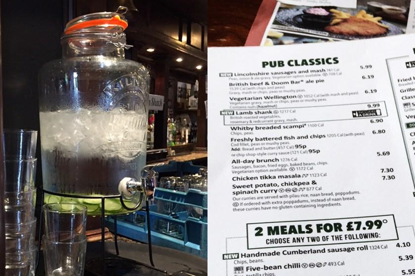 """En los pubs populares, igual que en los otros locales, el agua es cortesía de la casa; a veces viene infusionada con limón o con pepino. En las cartas se espcifica el aporte calórico de cada """"junk dish"""", sea vegetal o no... Algo es algo."""