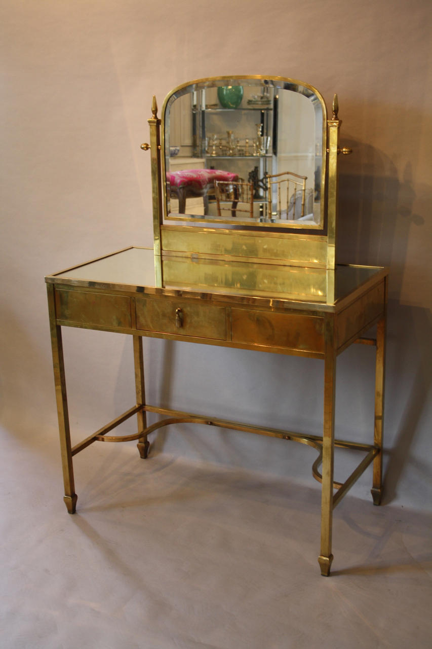 brass and mirror dressing table