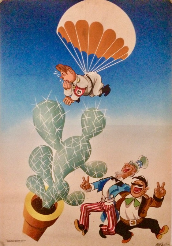 Nazi parachuting into a cactus watched by two Mexicans