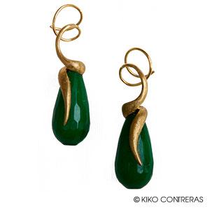 Pendientes oro amarillo y jade