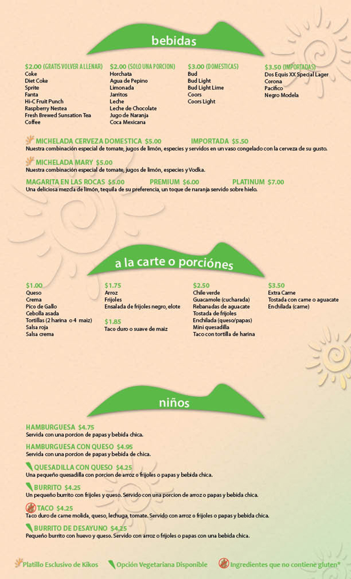 Kikos Authentic Mexican, Brighton Colorado, bebidas, a la carte o porciones