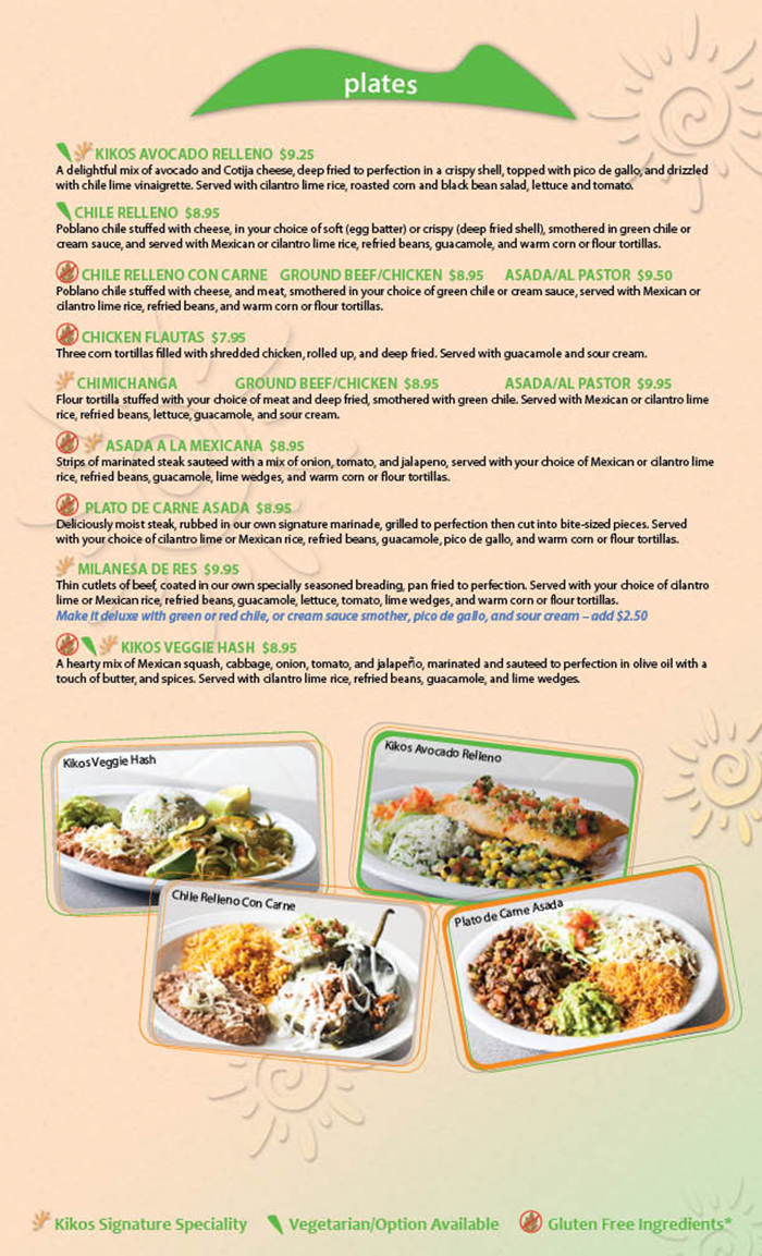 Kikos Authentic Mexican, Brighton Colorado, serves a variety of authentic and specialty Mexican plates