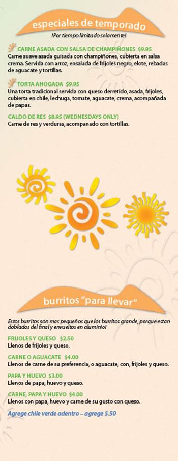 """Kikos Authentic Mexican, Brighton Colorado, especiales de temporado y burritos """"para llevar"""""""