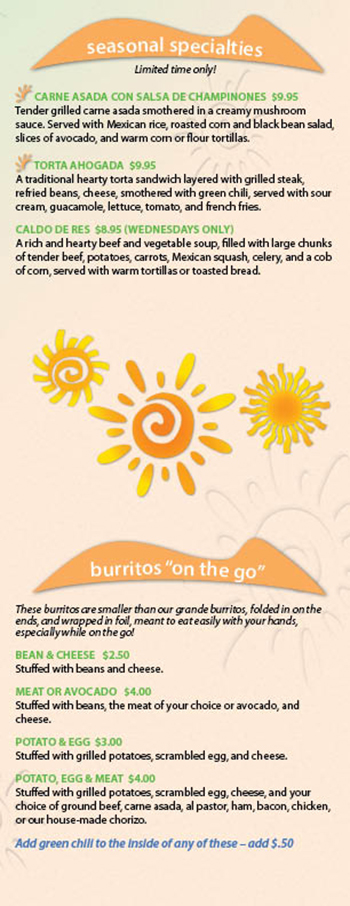 "Kikos Authentic Mexican, Brighton Colorado, seasonal and burritos ""on-the-go"" menu"