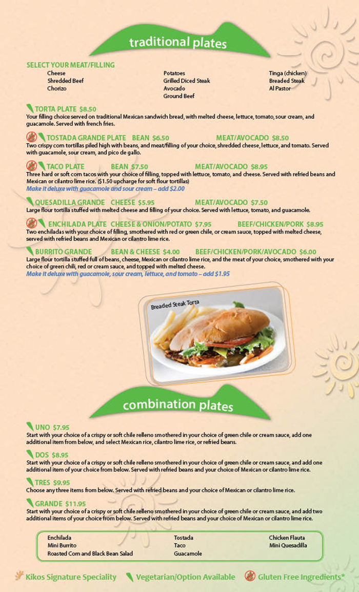 Kikos Authentic Mexican, Brighton Colorado, offers a variety of authentic and traditional entrees