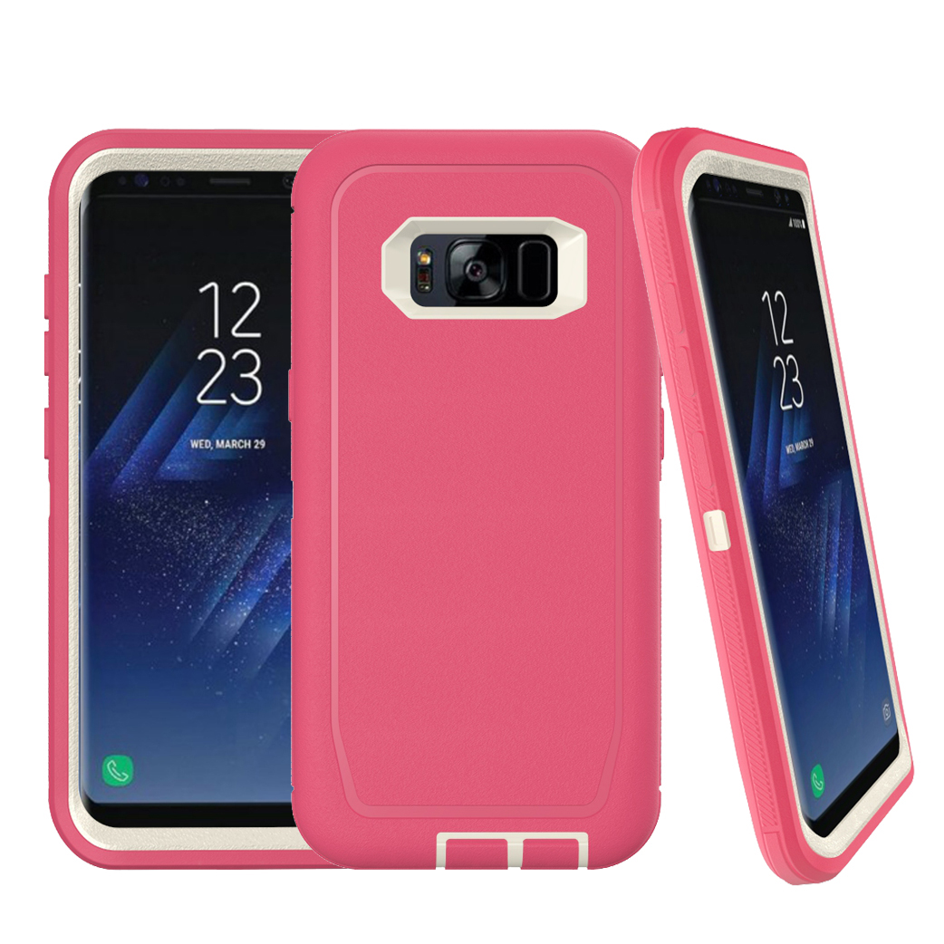 Wholesale Galaxy S8 Armor Defender Case Hot Pink White