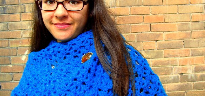 DIY: Crocheted Lacy Turquoise Shawl, Kiku Corner