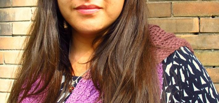 DIY: Knitted Purple Silk Bambo Scarf, Kiku Corner