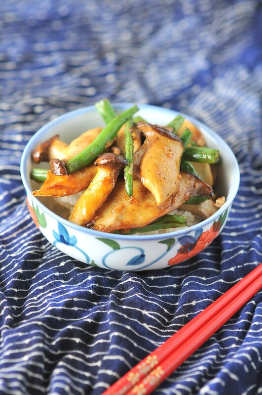 Stir Fried King Oyster Mushrooms with Green Beans