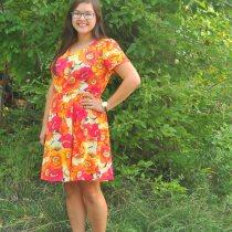 New Look 6262 V Neck Dress Gathered Skirt