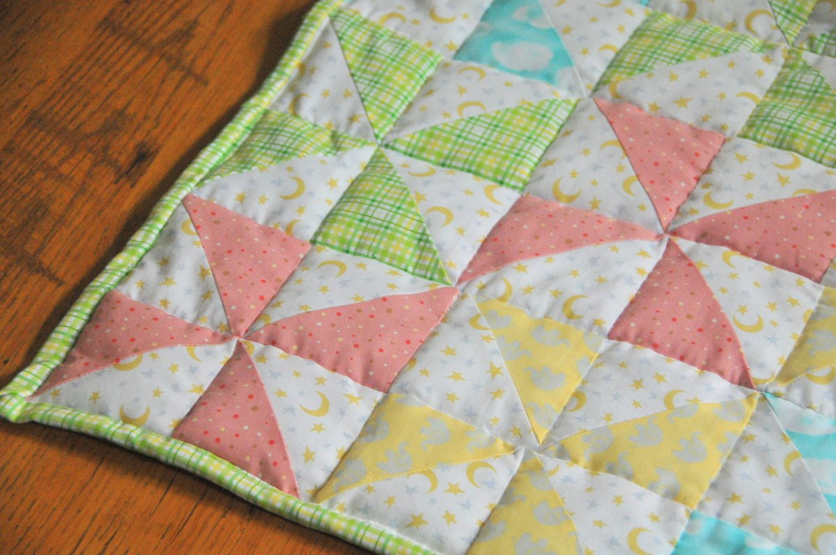 Striped Pinwheel Baby Quilt and Free Pattern