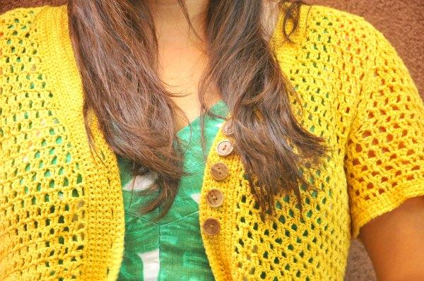 Crochet Linen Chambray Jacket