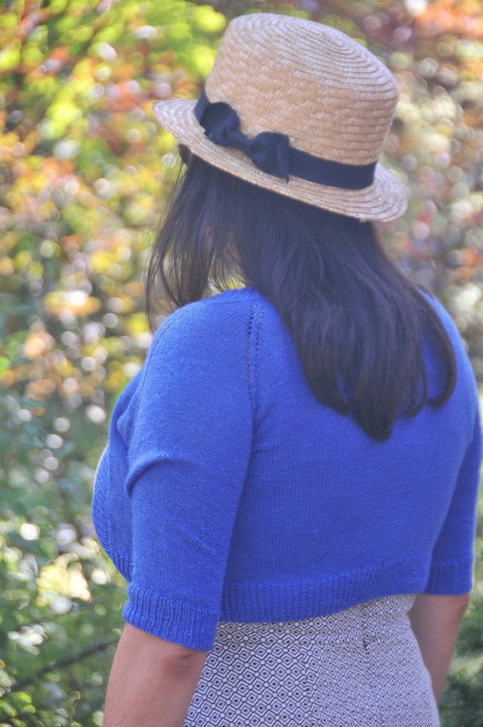 Blue Cropped Featherweight Cardigan by Knitbot