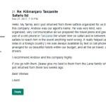 Laura L Review on Kilimanjaro Tanzanite Safaris LTD